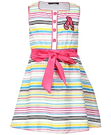 Cool Quotient Multi Color Sleeveless Frock with Stripe Print