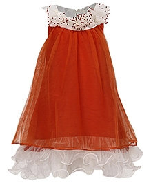 Via Italia Sleeveless Ruffled Detailed Frock - Orange