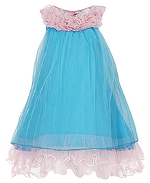 Via Italia Sleeveless Ruffled Detailed Frock - Blue