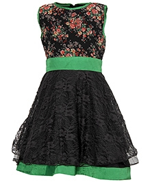 Via Italia Sleeveless Lace Frock - Black
