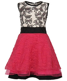Via Italia Sleeveless Lace Frock - Pink