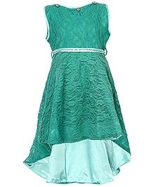 Via Italia Sleeveless Diamond Studded Frock - Green