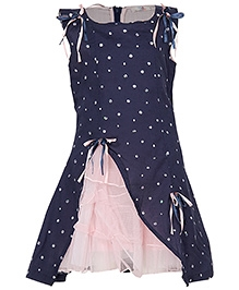Via Italia Sleeveless Sequin Studded Frock - Navy Blue