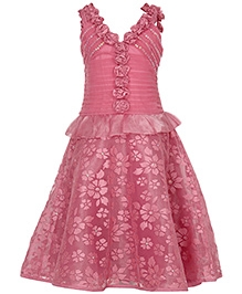 Via Italia Brasso Net Sleeveless Party Dress - Pink