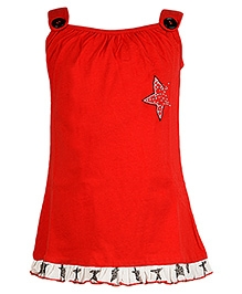 Cool Quotient Singlet Top With Star Design - Red