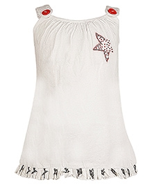 Cool Quotient Singlet Top With Star Design - White