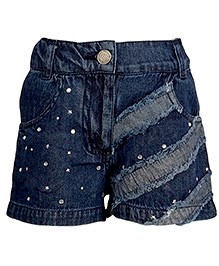 Cool Quotient Sequin Studded Denim Shorts - Blue