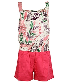 Cool Quotient Sleeveless Printed Jumpsuit - Pink