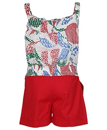 Cool Quotient Sleeveless Printed Jumpsuit - Red