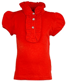 Cool Quotient Short Sleeves Slub Collar Frill Polo T-Shirt - Red