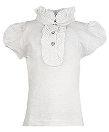 Cool Quotient Short Sleeves Slub Collar Frill Polo T-Shirt - White
