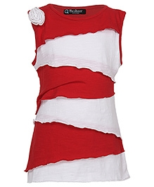 Cool Quotient Sleeveless Top with Random Layers - Red and White