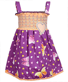 SAPS Singlet Frock with Smocked Pattern - Purple