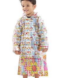 Babyhug Hooded Raincoat with Girl Print
