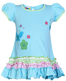 SAPS Short Sleeves A Line Frock With Patch Work - Blue