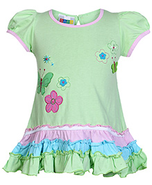 SAPS Short Sleeves A Line Frock With Patch Work - Green