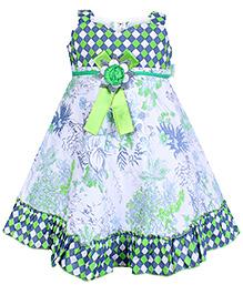 Babyhug Singlet Flower Printed Frock - Green