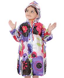 Babyhug Hooded Raincoat with Floral Print - Purple