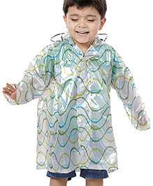 Babyhug Multicolor Hooded Raincoat with Trajectory Line Print