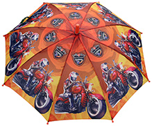 Fab N Funky Turbo Racer Print Kids Umbrella - Orange