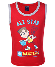 Taeko Sleeveless T-Shirt All Star Print - Red