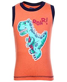 Taeko Sleeveless T-Shirt with Dinosaur Print - Orange