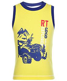 Taeko Sleeveless T-Shirt with Bike Print - Yellow
