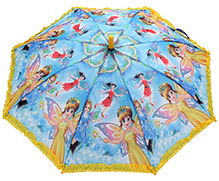 Fab N Funky Fairy Print Kids Umbrella - Yellow And Blue