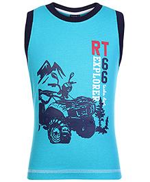 Taeko Sleeveless T-Shirt with Bike Print - Aqua