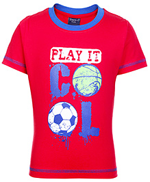 Taeko Half Sleeves T-Shirt with Play It Cool Print - Red