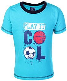 Taeko Half Sleeves T-Shirt Blue - Play It Cool Print