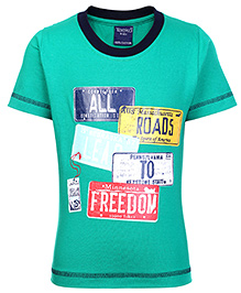 Taeko Half Sleeves T-Shirt with All Roads To Freedom Print - Green