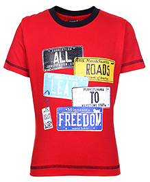 Taeko Half Sleeves T-Shirt with All Roads To Freedom Print - Red