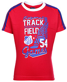 Taeko Half Sleeves T-Shirt with Track Field Games Print - Red