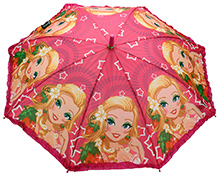 Fab N Funky Kids Umbrella with Girl Print - Pink