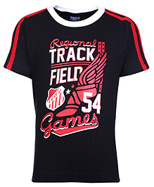 Taeko Half Sleeves T-Shirt with Track Field Games Print - Black