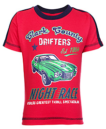 Taeko Half Sleeves T-Shirt with Night Race Car Print - Red