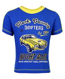 Taeko Half Sleeves Printed T-Shirt - Blue