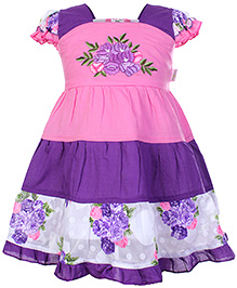 Babyhug Short Sleeves Frock Pink And Purple - Flower Print