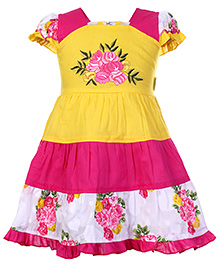 Babyhug Short Sleeves Frock Pink And Yellow - Flower Print