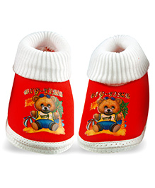 Little's Fancy Sock Style Booties - Red And White