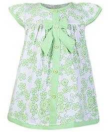 SAPS Cap Sleeves Frock Green - Flowers Print