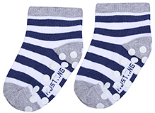 Mustang Ankle Length Socks Stripe And Dot Print - Grey