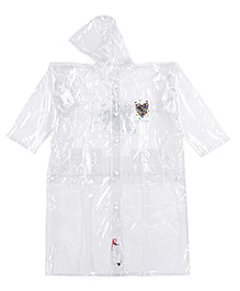 Babyhug Hooded Raincoat White - Butterfly Patch