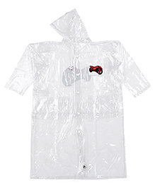 Babyhug Hooded Raincoat White - Motorbike Print
