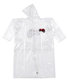 Babyhug Hooded Raincoat White - Motorbike Print