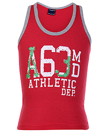 Taeko Sleeveless Vest Red - Athletic Print