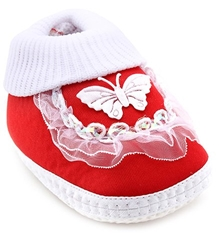 Littles Frill Booties With Butterfly Applique