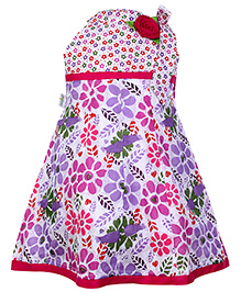 Babyhug Singlet Frock With Rose Applique Pink And White - Flower Print