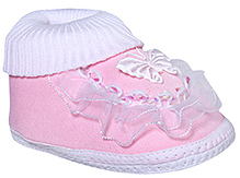Littles Frill Booties Butterfly Appliqued - Pink